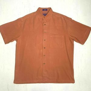 Pendleton Shirt Orange Short Sleeve 100% Silk M